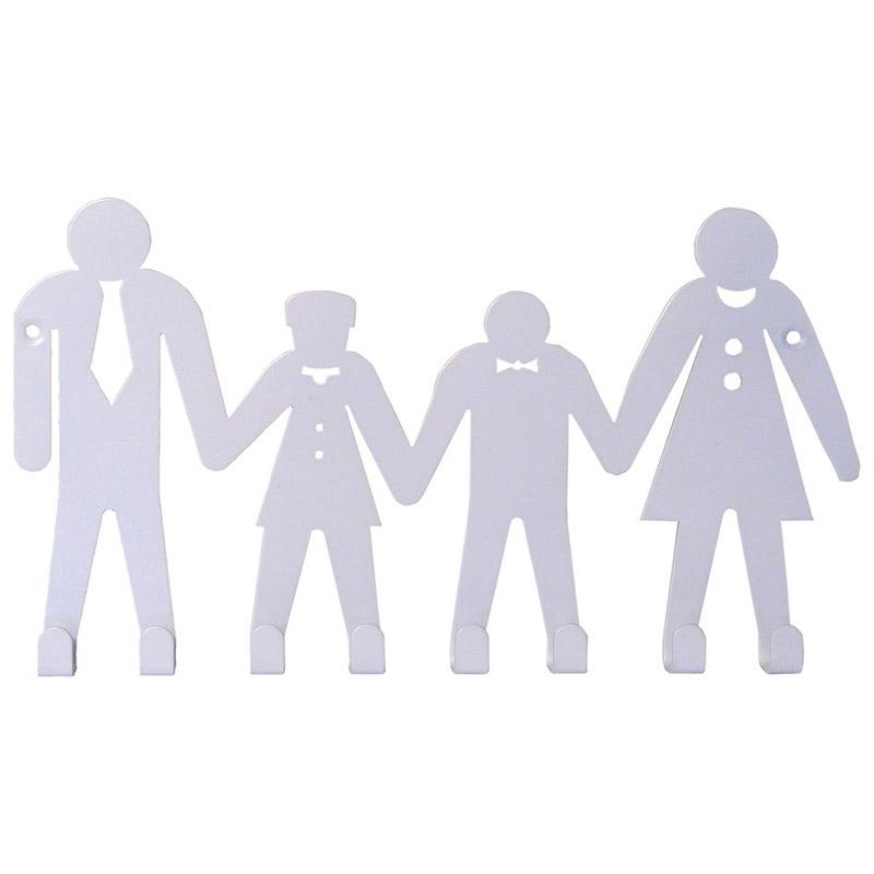 Вешалка Семья (8 крючков) белая (008302)