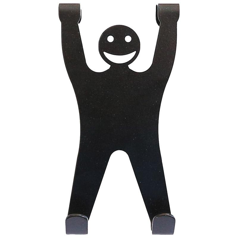 Вешалка для двери Человечек (2 крючка) черная (008304)
