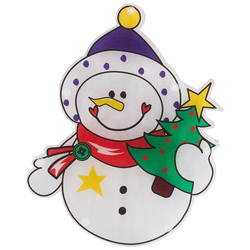 Панно световое Снеговик с елкой (986107)