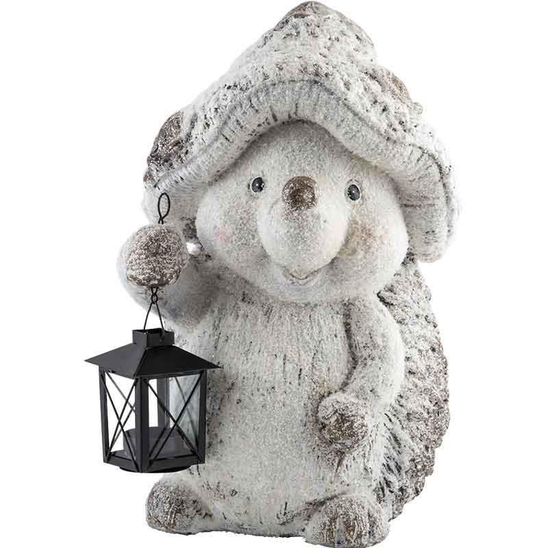 Фигурка декоративная Ежик с фонариком (004312)