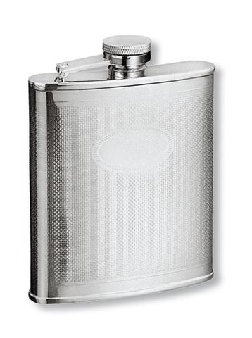 Фляга S.Quire 0,18 л, сталь, серебристый цвет с рисунком (1406YX)