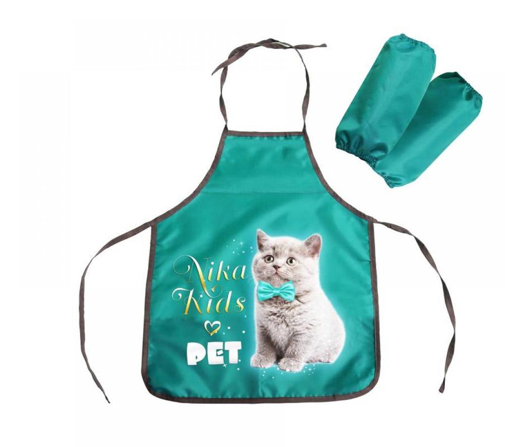 Фартук и нарукавники ФН2 И с рисунком-котенок, цвет-изумрудный