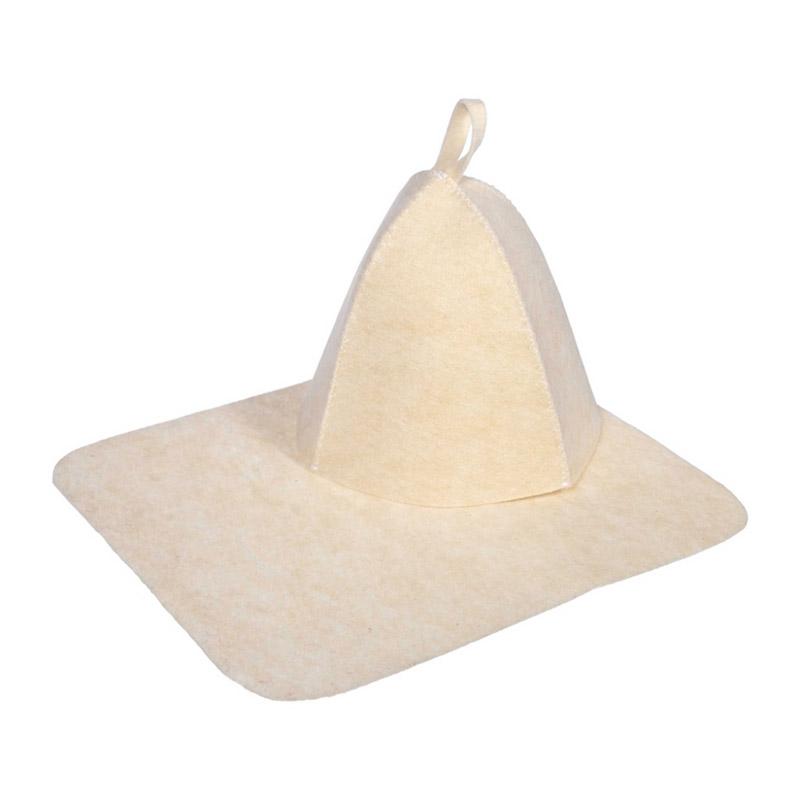 Набор для бани 2 предмета (шапка и коврик) Hot Pot (п шерсть, белый)