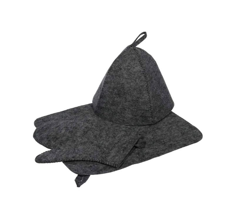 Набор для бани 3 предмета (шапка, коврик и рукавицы) Hot Pot (лавсан, серый)