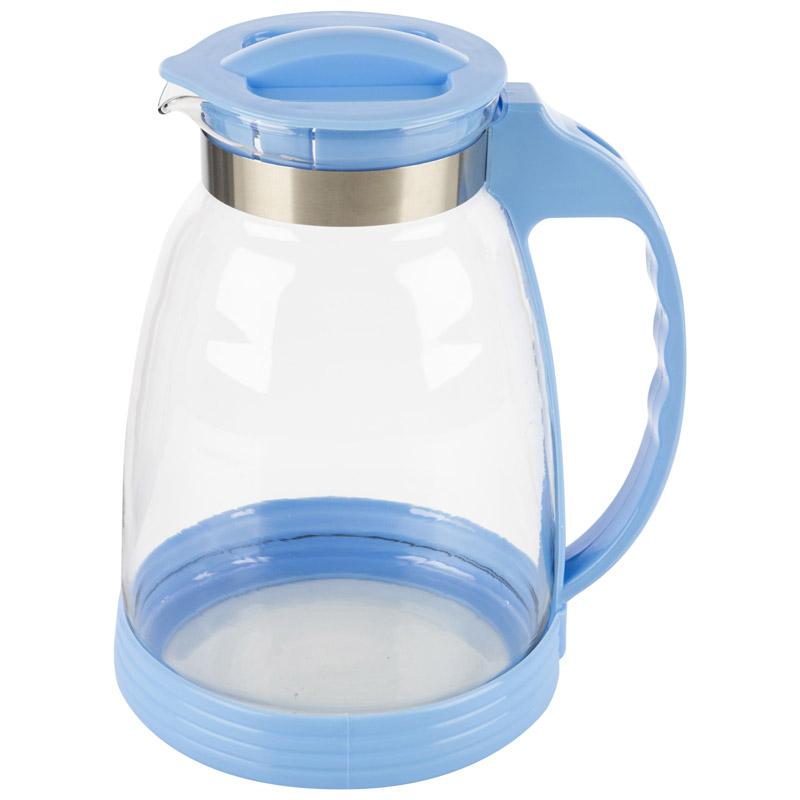 Кувшин, BROCCA-2500, объем 2,5 л, из жаропрочного стекла, с пластик ручкой, синий дизайн (910116)
