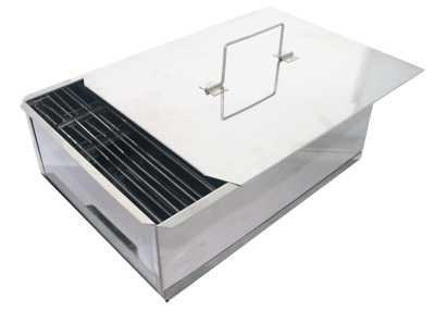 Коптильня двухъярусная Профессионал (нержавеющая сталь 1.0мм) 580х380х220мм с поддоном для сбора жира