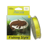 Леска Fishing Style RL2902 0.18mm тест 15.40кг 100m (плетенка желтая)