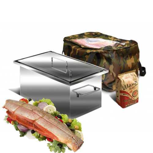 Коптильня Ольховый дым Универсал 500х300х250мм 2-хъярусная нержавеющая сталь 1.5мм, гидрозатвор, поддон для сбора жира, сумка, пакет щепы ольховой