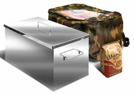 Коптильня Ольховый дым Классик 500х400х300мм 2-хъярусная, нержавеющая сталь 2.0мм, поддон для сбора жира, сумка, пакет щепы ольховой