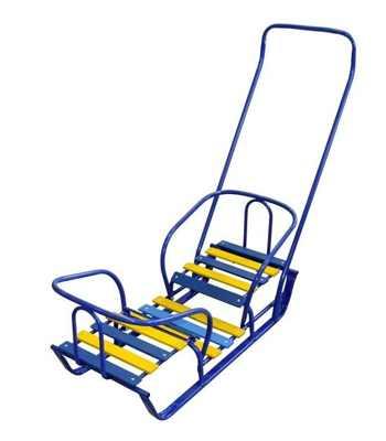 Санки детские Санки-двойняшки СД два места для сидения, каркас синий