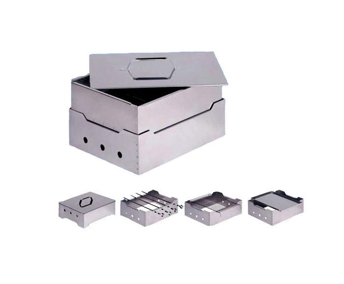 Комплекс портативный Коптильня-Гриль (нержавеющая сталь 0.8мм) 380х280х120мм в сумке