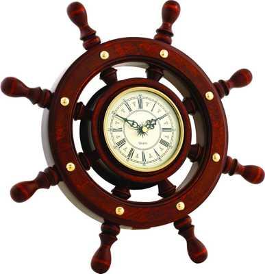 Часы настенные Штурвал ШЧСТ-С06 в корпусе из массива дерева (диаметр 380 108 мм)