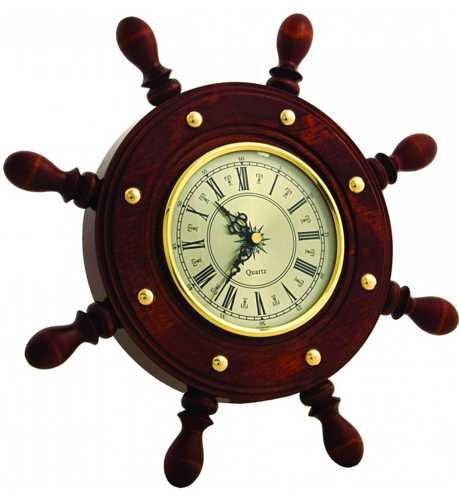 Часы настенные Штурвал ШЧСТ-С08 в корпусе из массива дерева (диаметр 330 130 мм)