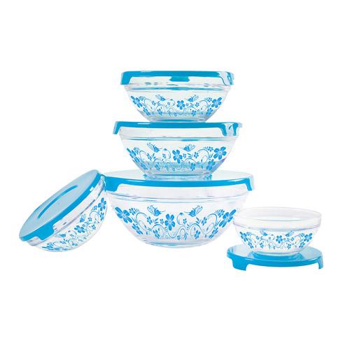 Набор стеклянных салатников с крышками Irit GLSA-5-005 (5 штук)