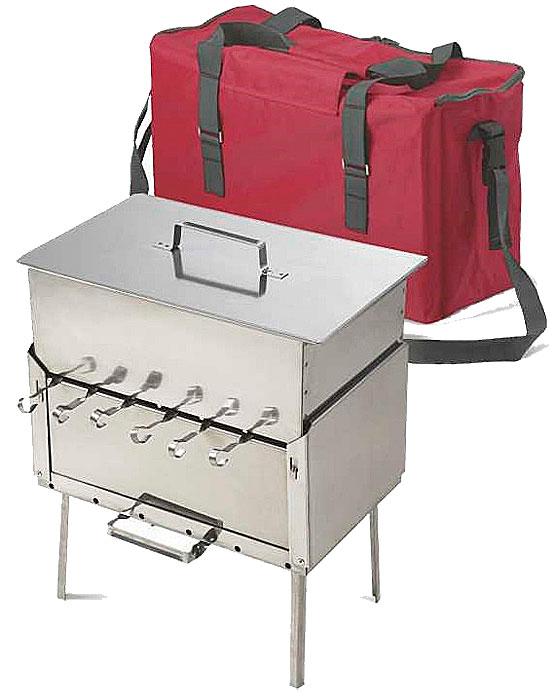 Набор для пикника Кедр в сумке (мангал-дипломат МД-6 нерж.ст.1.5мм + коптильня К2-0.8П нерж.ст.0.8мм)