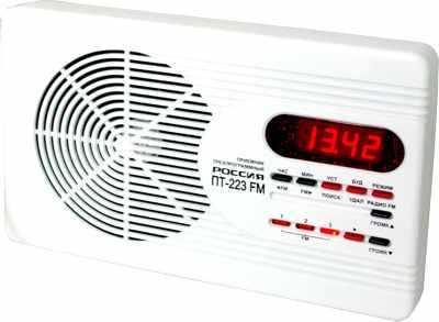 Приемник трехпрограммный Россия ПТ-223 УКВ FM сеть 30В и 15В + УКВ FM-приемник, часы-будильник