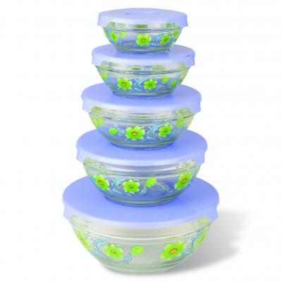 Набор стеклянных салатников с крышками Irit GLSA-5-003 (5 штук)