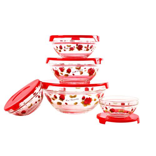 Набор стеклянных салатников с крышками Irit GLSA-5-004 (5 штук)