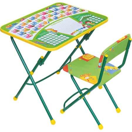 Комплект детской мебели Ника КУ1 13 (для 3-7 лет) тема Первоклашка.Зеленый фон