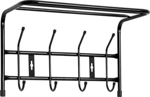 Вешалка настенная с полкой Ника ВП4 (4 крючка, 400х238х268мм) цвет-черный