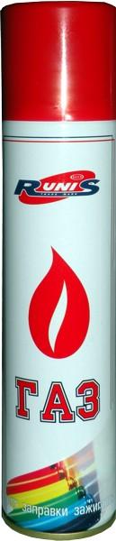Газ для зажигалок RUNIS , метал. баллон, 270 мл. белый (с насадками)/36