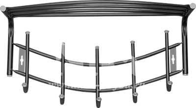 Вешалка настенная Ника Премиум ВНП4 с полкой (5 крючков, 525х275мм) цвет-черный