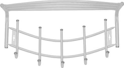 Вешалка настенная Ника Премиум ВНП4 с полкой (5 крючков, 525х275мм) цвет-серебро