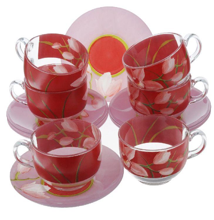 Чайный сервиз Luminark Красные орхидеи, 12 пр, 220 мл