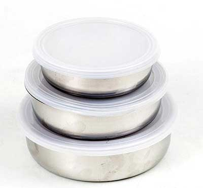 Набор Катунь Кухня контейнеров из нержавеющей стали (12см+14см+16см) с крышками 0033
