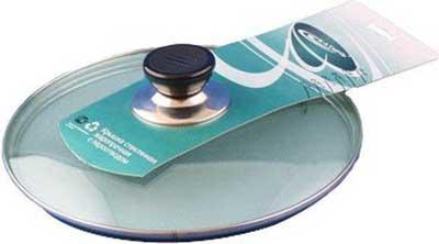 Крышка стеклянная КАТУНЬ d24см КТ-024s универсальная (металлический ободок, пароотвод, пластмассовая ручка)