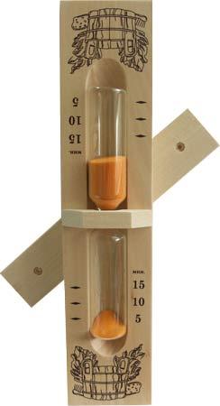 Часы песочные Стеклоприбор для сауны тип 1 исп.3 на 15 минут на деревянном основании