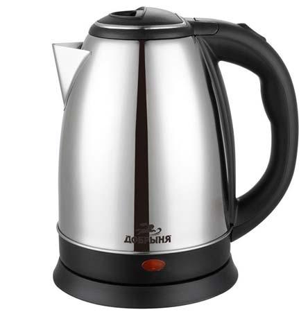 Добрыня DO-1223 чайник электрический дисковый, 1.8л, 1800Вт, нержавеющая сталь