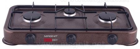 Плита газовая Magnit CGH-1012 3-х конфорочная, эмал.рабочая пов-ть, коричневая