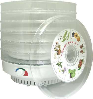 Сушилка для овощей и фруктов Ветерок-2 (электросушилка 6 прозрачных поддонов диам.39см + поддон для пастилы)