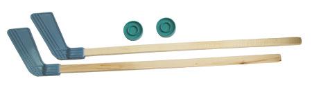 Набор для игры в хоккей с шайбой 2 клюшки + 2 шайбы (дерево, пластик, уп-ка европодвес)