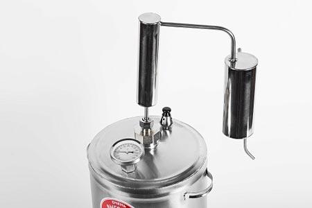 Дистиллятор ПЕРВАЧ (Самогонный аппарат) Премиум-классик 20Т 20л, нержавеющая сталь, проточный с сухопарником, термометр