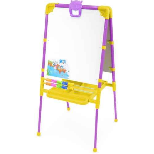 Мольберт детский двусторонний Ника М2 СН Растущий (цвет каркаса-Сиреневый) с большим пеналом, магнитной азбукой и мозаикой