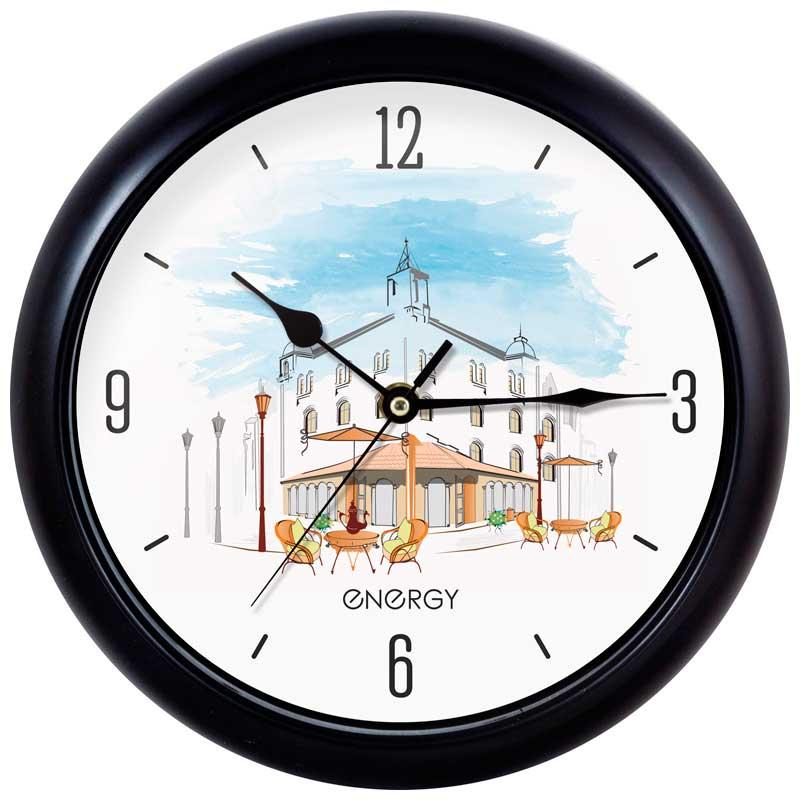 Часы настенные кварцевые Energy EC-105 круглые (25.0x3.8 см) кафе (009478)