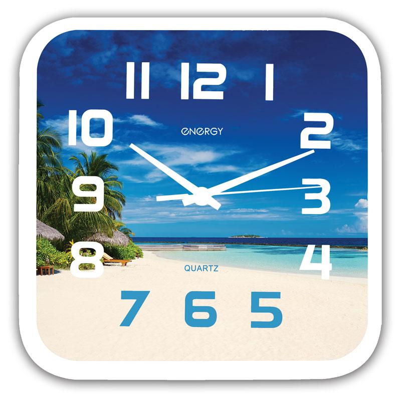 Часы настенные кварцевые Energy EC-99 квадратные (24.5x3.9 см) пляж (009472)