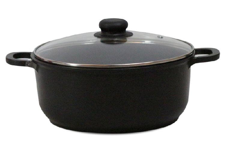 Кастрюля Маруся 3450к 5л диам.26 см со стеклянной крышкой черная (литая антипригарная)