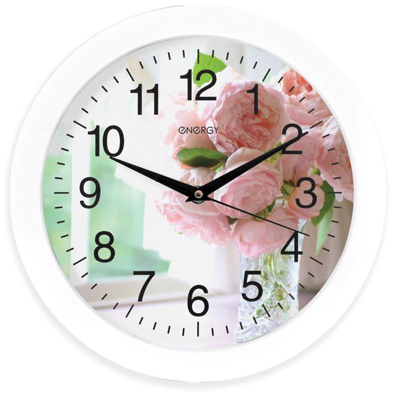 Часы настенные кварцевые Energy EC-96 круглые (27,5x3.8 см) цветы (009469)