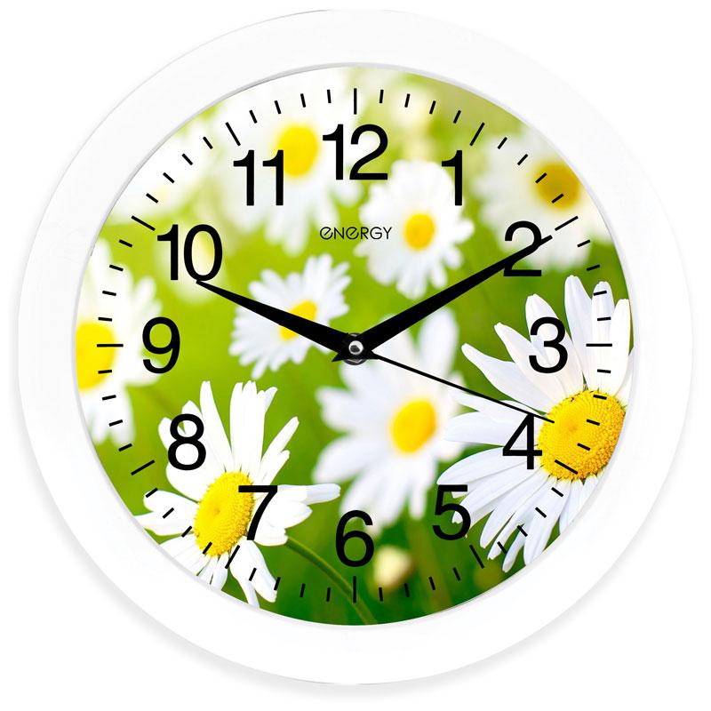 Часы настенные кварцевые Energy EC-98 круглые (27,5x3.8 см) ромашки (009471)