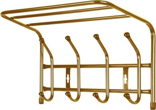 Вешалка настенная с полкой Ника ВП4 (4 крючка, 400х238х268мм) цвет-золотой