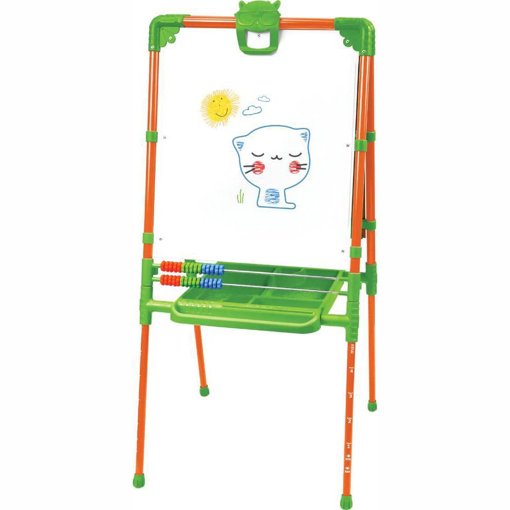 Мольберт детский двусторонний Ника М2Л О Растущий (цвет каркаса-Оранжевый) с большим пеналом и магнитной азбукой