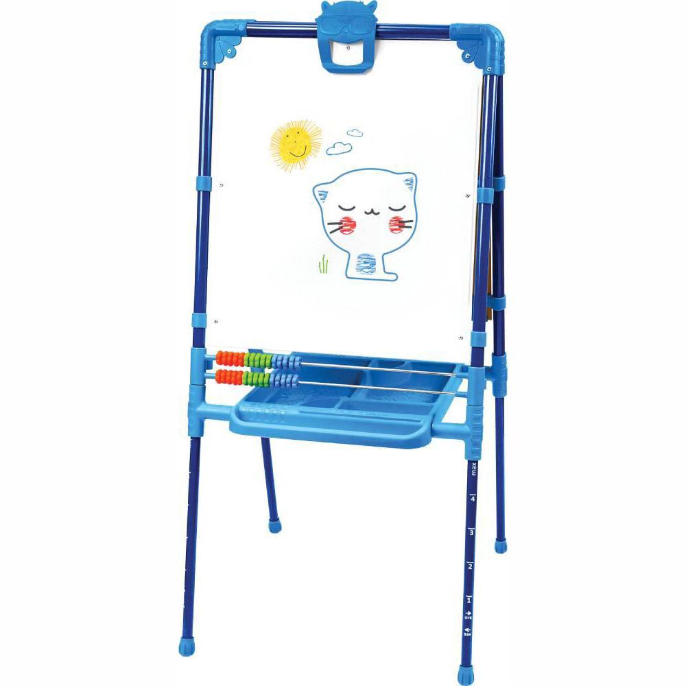 Мольберт детский двусторонний Ника М2Л С Растущий (цвет каркаса-Синий) с большим пеналом и магнитной азбукой