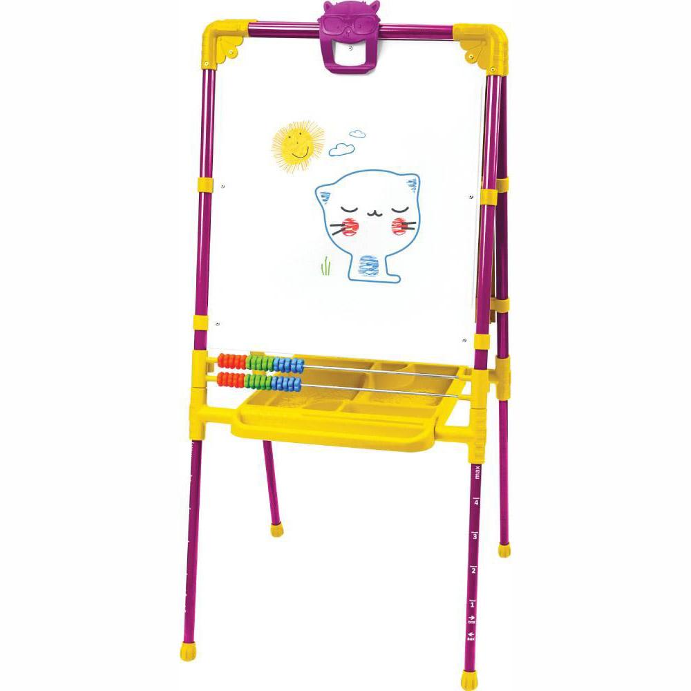 Мольберт детский двусторонний Ника М2Л СН Растущий (цвет каркаса-Сиреневый) с большим пеналом и магнитной азбукой