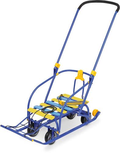 Санки детские Nikki-3 N3 С синий каркас, выдвижные колесные шасси