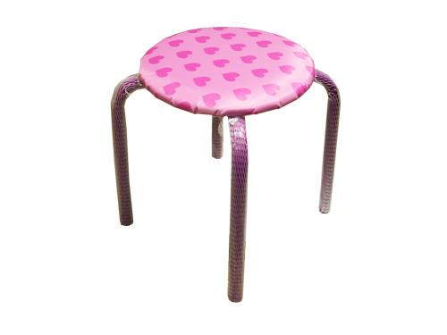 Табурет детский Ника ТМ 2 Сердечки на розовом (высота 280мм, круглое сиденье 330мм)