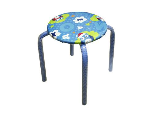 Табурет детский Ника ТМ 3 Совята на синем (высота 280мм, круглое сиденье 330мм)