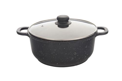 Кастрюля Маруся 7430к 3л диам.22 см мрамор со стекл. крышкой черная (литая антипригарная)